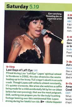 Last Days of Left Eye - Entertainment Weekly